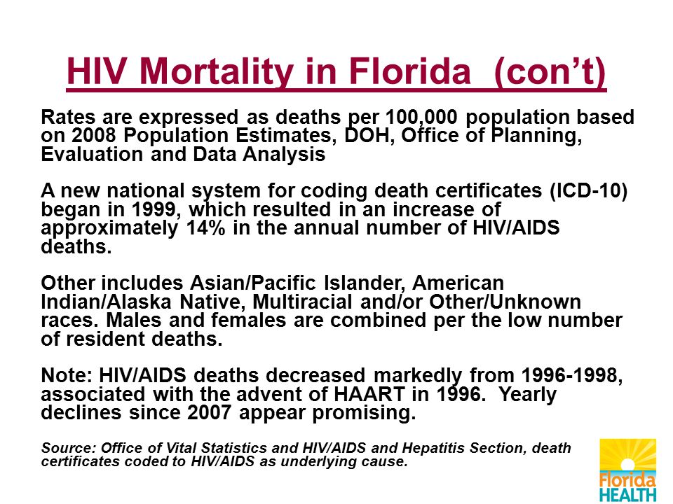 Rates are expressed as deaths per 100,000 population based on 2008 Population Estimates, DOH, Office of Planning, Evaluation and Data Analysis A new national system for coding death certificates (ICD-10) began in 1999, which resulted in an increase of approximately 14% in the annual number of HIV/AIDS deaths.