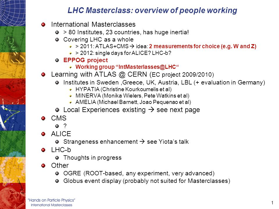 1 LHC Masterclass: overview of people working International Masterclasses > 80 Institutes, 23 countries, has huge inertia.