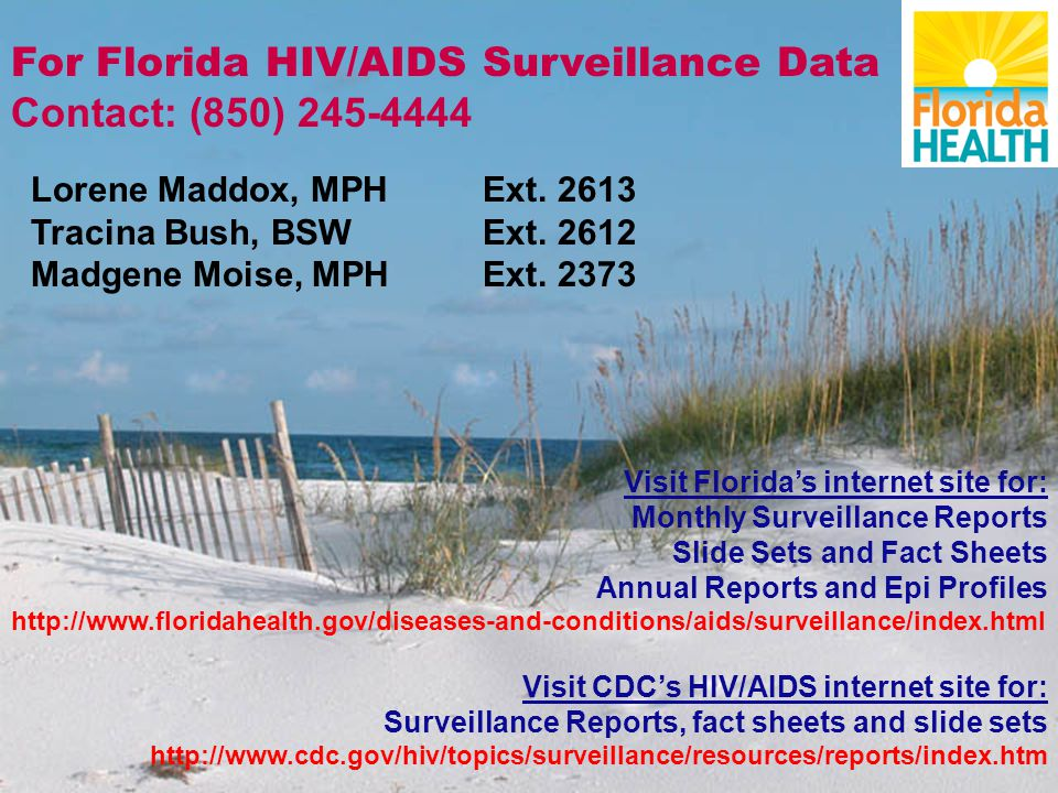 For Florida HIV/AIDS Surveillance Data Contact: (850) Lorene Maddox, MPH Ext.