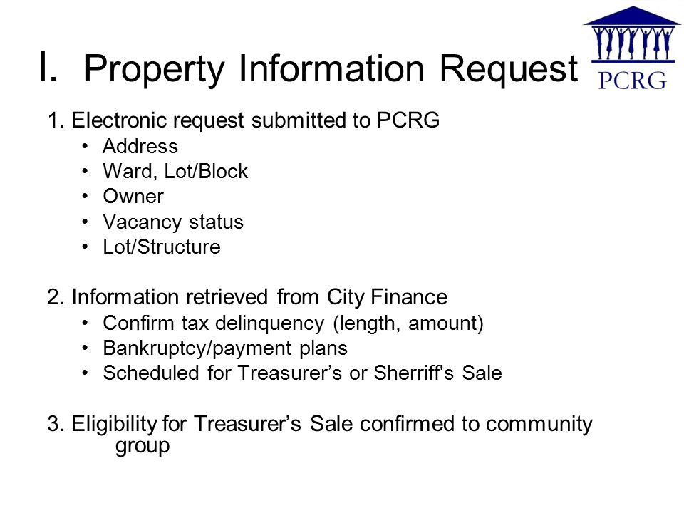 I. Property Information Request 1.