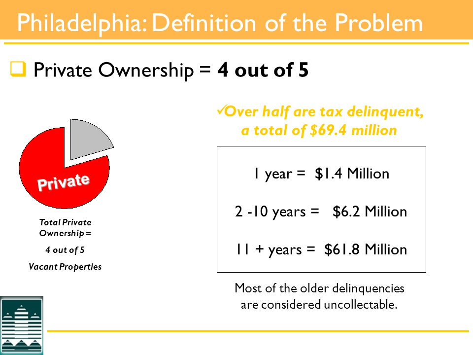  Private Ownership = 4 out of 5 1 year = $1.4 Million years = $6.2 Million 11 + years = $61.8 Million Most of the older delinquencies are considered uncollectable.