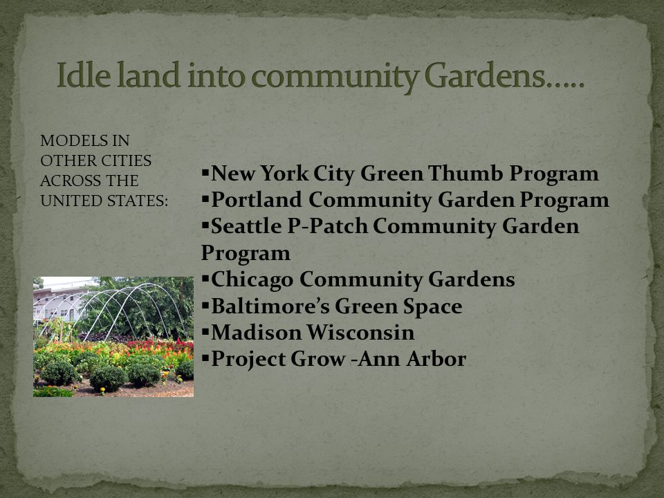  New York City Green Thumb Program  Portland Community Garden Program  Seattle P-Patch Community Garden Program  Chicago Community Gardens  Baltimore's Green Space  Madison Wisconsin  Project Grow -Ann Arbor MODELS IN OTHER CITIES ACROSS THE UNITED STATES: