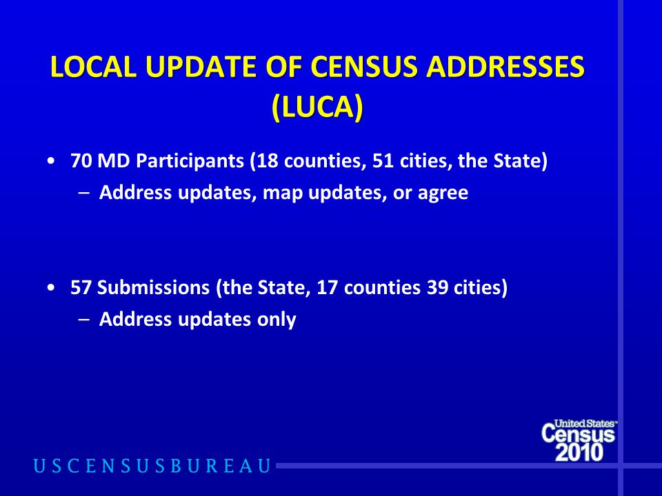 70 MD Participants (18 counties, 51 cities, the State) –Address updates, map updates, or agree 57 Submissions (the State, 17 counties 39 cities) –Address updates only LOCAL UPDATE OF CENSUS ADDRESSES (LUCA)