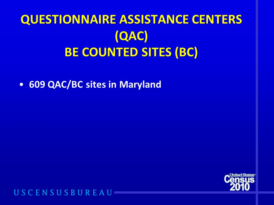 QUESTIONNAIRE ASSISTANCE CENTERS (QAC) BE COUNTED SITES (BC) 609 QAC/BC sites in Maryland