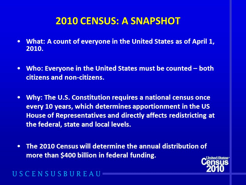 2010 CENSUS: A SNAPSHOT What: A count of everyone in the United States as of April 1, 2010.