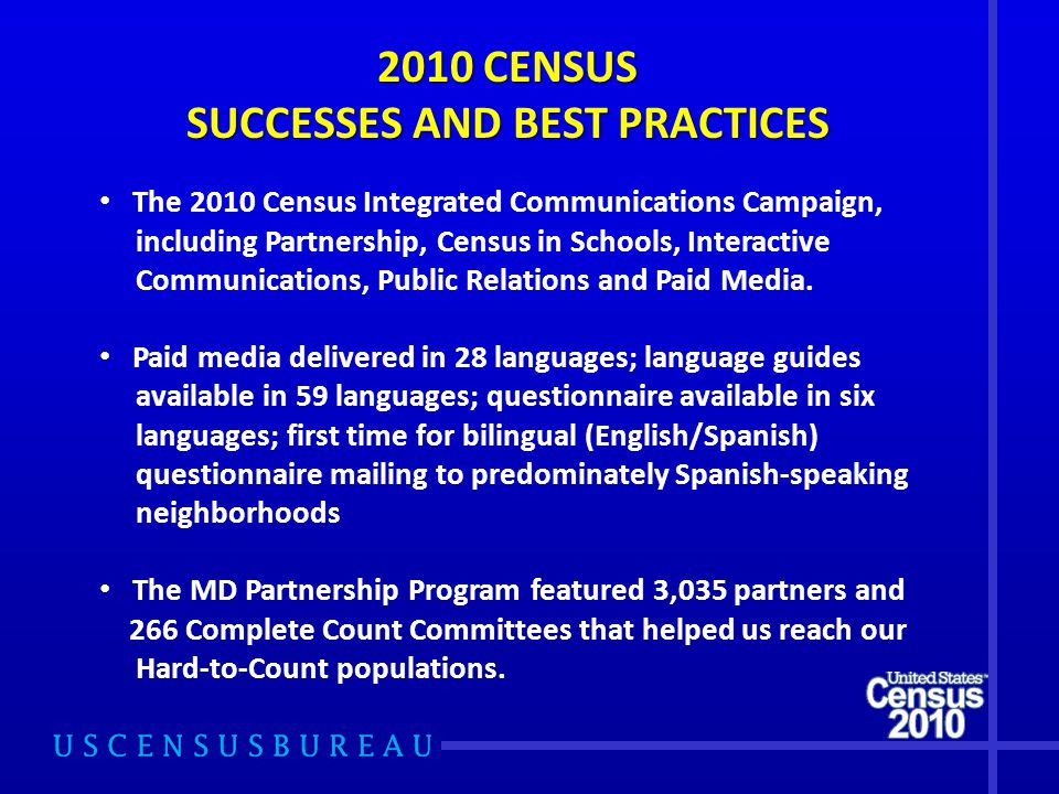 2010 CENSUS SUCCESSES AND BEST PRACTICES The 2010 Census Integrated Communications Campaign, including Partnership, Census in Schools, Interactive Communications, Public Relations and Paid Media.