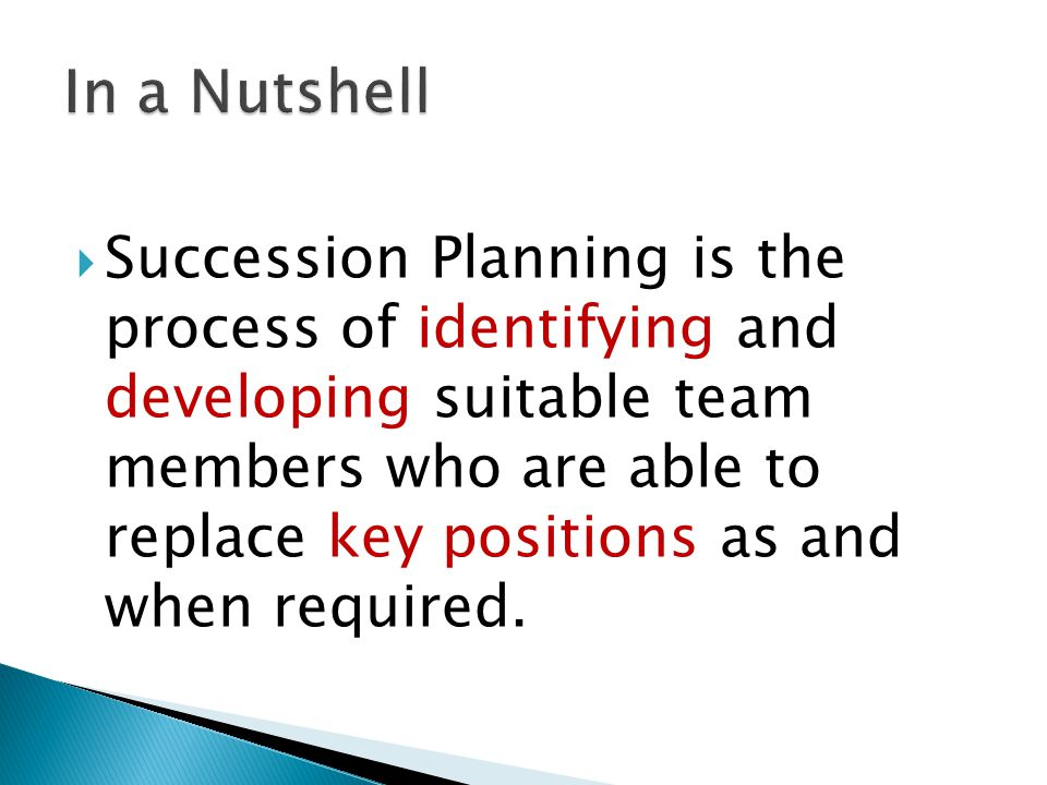 Succession Planning is the process of identifying and developing suitable team members who are able to replace key positions as and when required.