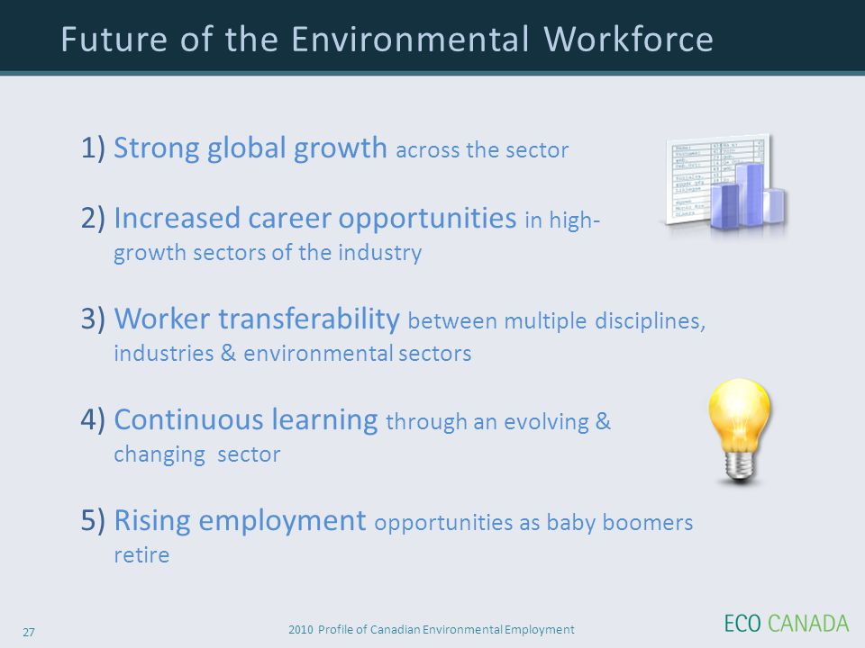 2010 Profile of Canadian Environmental Employment 27 1) Strong global growth across the sector 2) Increased career opportunities in high- growth sectors of the industry 3) Worker transferability between multiple disciplines, industries & environmental sectors 4) Continuous learning through an evolving & changing sector 5) Rising employment opportunities as baby boomers retire Future of the Environmental Workforce