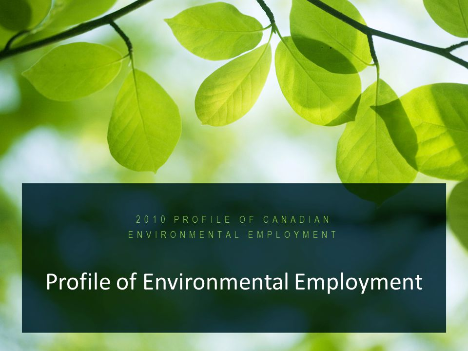 2010 Profile of Canadian Environmental Employment PROFILE OF CANADIAN ENVIRONMENTAL EMPLOYMENT Profile of Environmental Employment