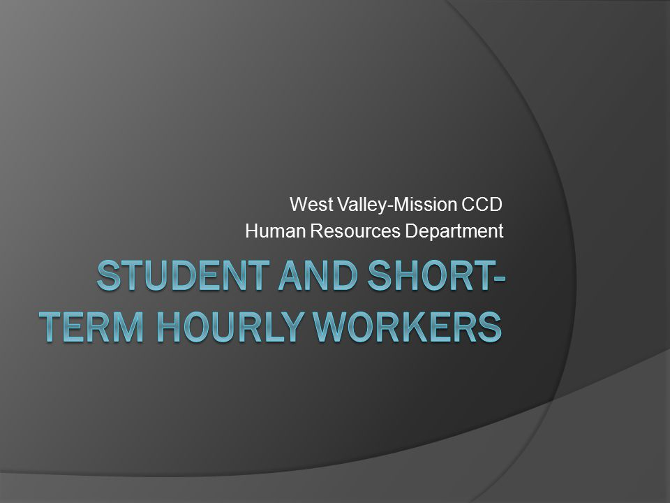 West Valley-Mission CCD Human Resources Department