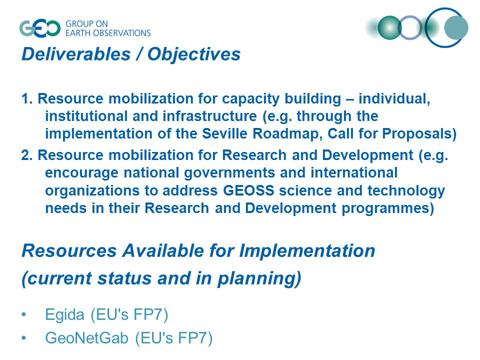 Deliverables / Objectives 1.