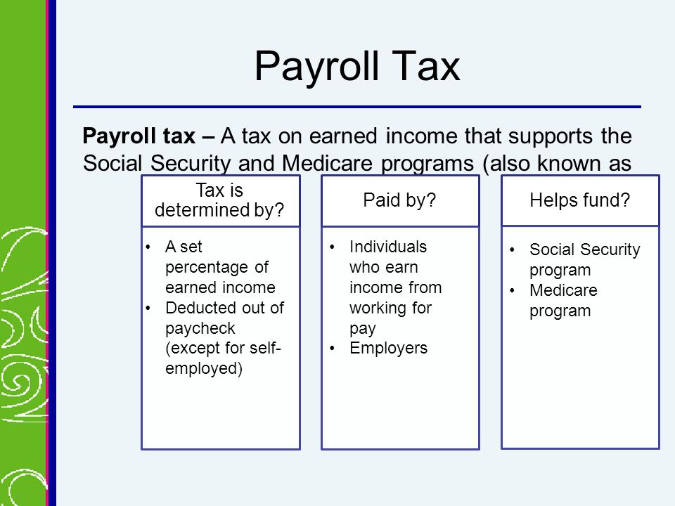Payroll Tax Payroll tax – A tax on earned income that supports the Social Security and Medicare programs (also known as FICA) Tax is determined by.