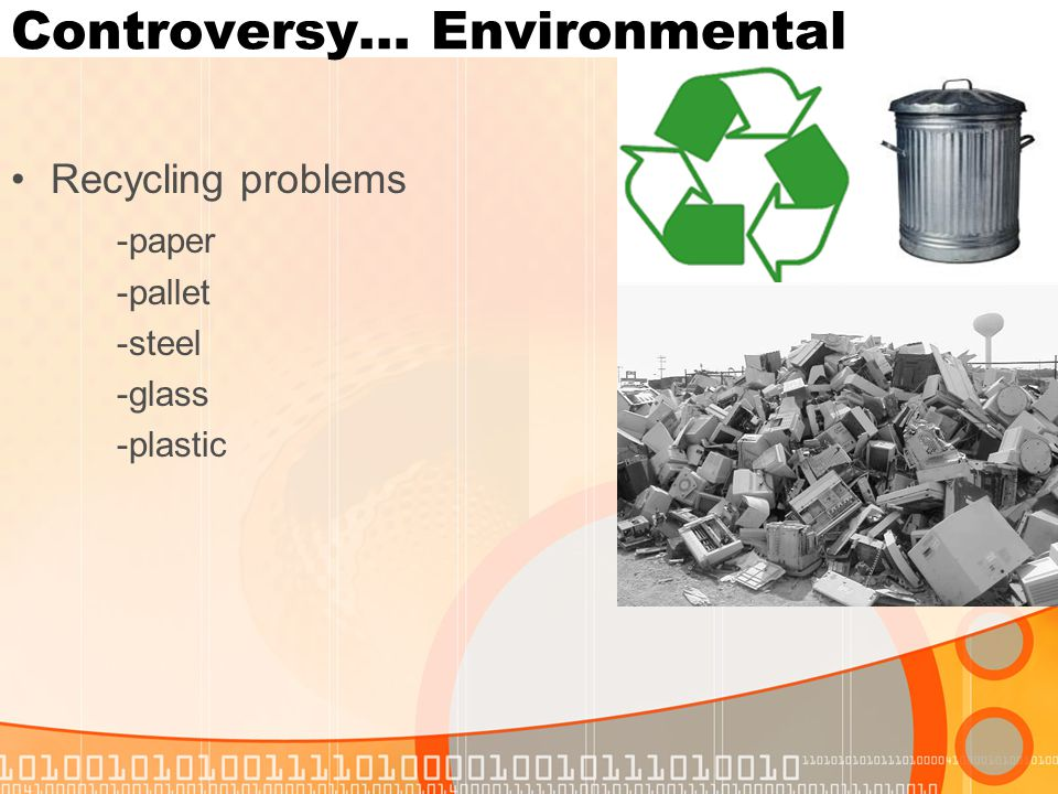 Controversy… Environmental Recycling problems -paper -pallet -steel -glass -plastic
