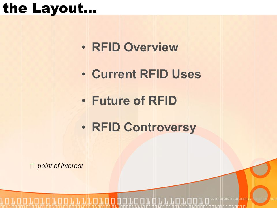 RFID Overview Current RFID Uses Future of RFID RFID Controversy the Layout… ★ point of interest