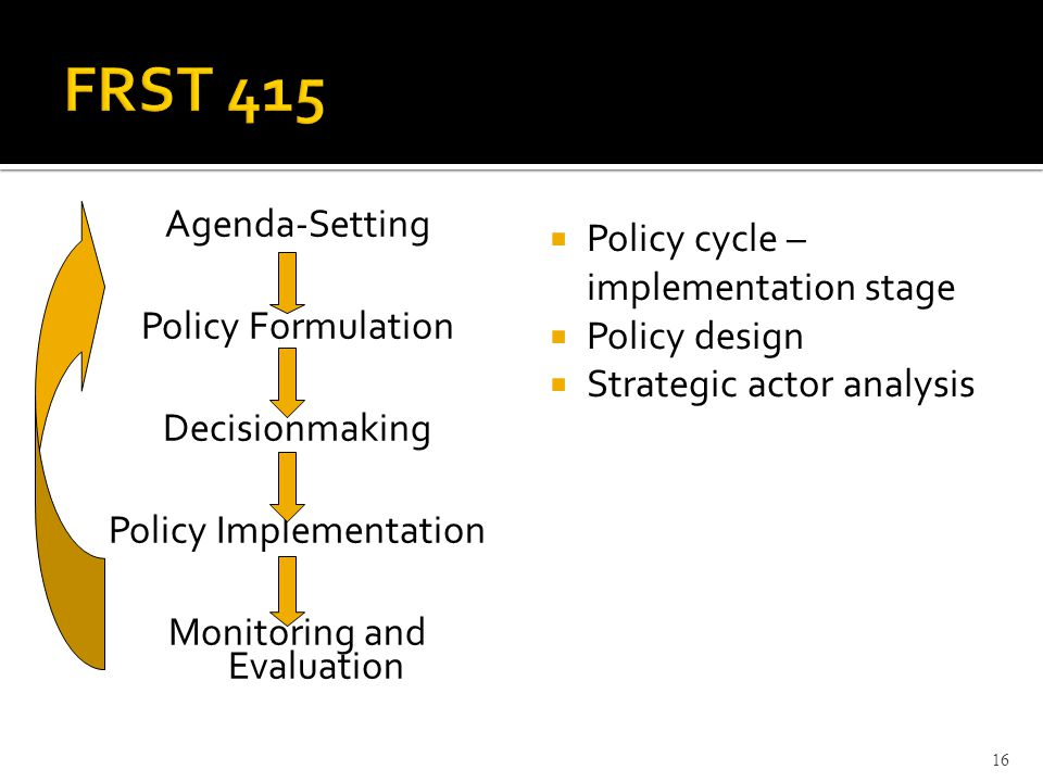 Agenda-Setting Policy Formulation Decisionmaking Policy Implementation Monitoring and Evaluation  Policy cycle – implementation stage  Policy design  Strategic actor analysis 16