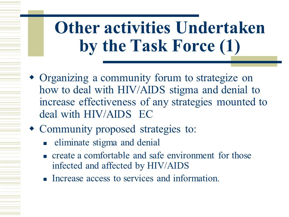 Other activities Undertaken by the Task Force (1)  Organizing a community forum to strategize on how to deal with HIV/AIDS stigma and denial to increase effectiveness of any strategies mounted to deal with HIV/AIDS EC  Community proposed strategies to: eliminate stigma and denial create a comfortable and safe environment for those infected and affected by HIV/AIDS Increase access to services and information.