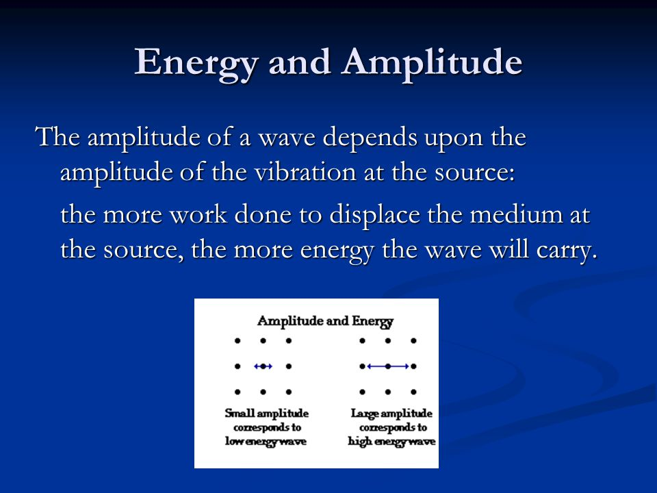 Energy and Amplitude The amplitude of a wave depends upon the amplitude of the vibration at the source: the more work done to displace the medium at the source, the more energy the wave will carry.