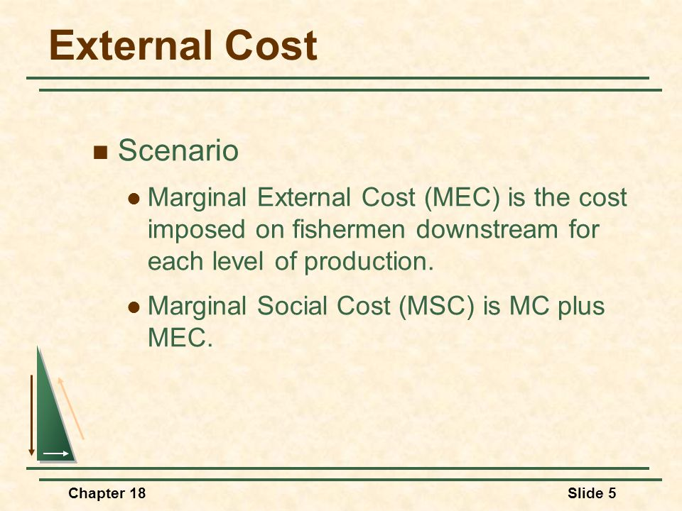 Chapter 18Slide 5 External Cost Scenario Marginal External Cost (MEC) is the cost imposed on fishermen downstream for each level of production.