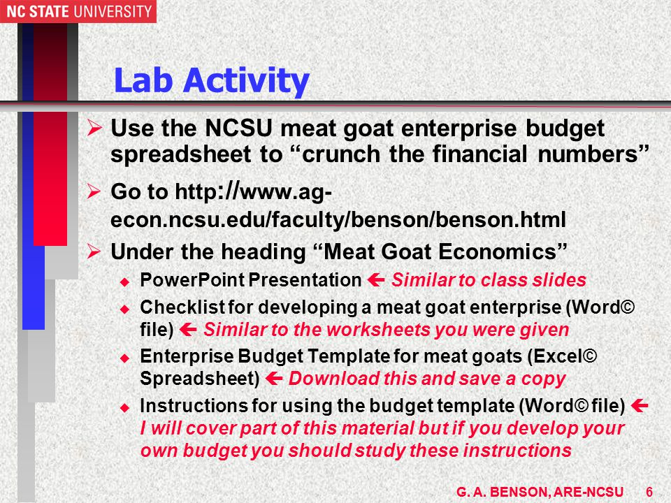 g. a. benson, are-ncsu meat goat & sheep economic$ geoff benson, Presentation templates