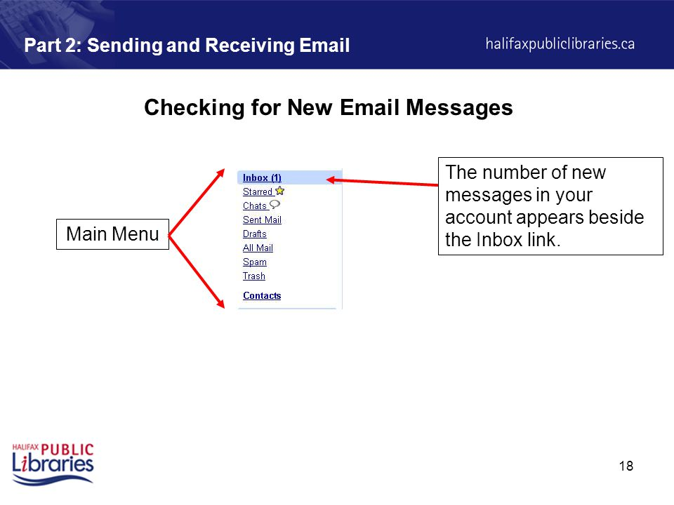 18 Part 2: Sending and Receiving  Checking for New  Messages The number of new messages in your account appears beside the Inbox link.