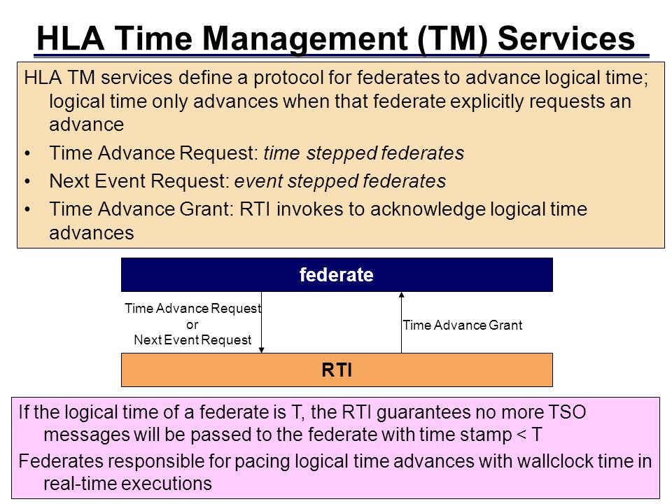 HLA Time Management (TM) Services HLA TM services define a protocol for federates to advance logical time; logical time only advances when that federate explicitly requests an advance Time Advance Request: time stepped federates Next Event Request: event stepped federates Time Advance Grant: RTI invokes to acknowledge logical time advances If the logical time of a federate is T, the RTI guarantees no more TSO messages will be passed to the federate with time stamp < T Federates responsible for pacing logical time advances with wallclock time in real-time executions federate RTI Time Advance Request or Next Event Request Time Advance Grant