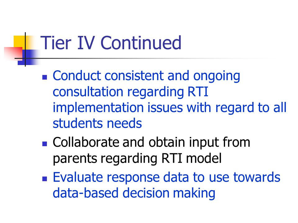 Tier IV (Referral) Conduct observations data Conduct norm-referenced cognitive and achievement testing Write evaluation reports