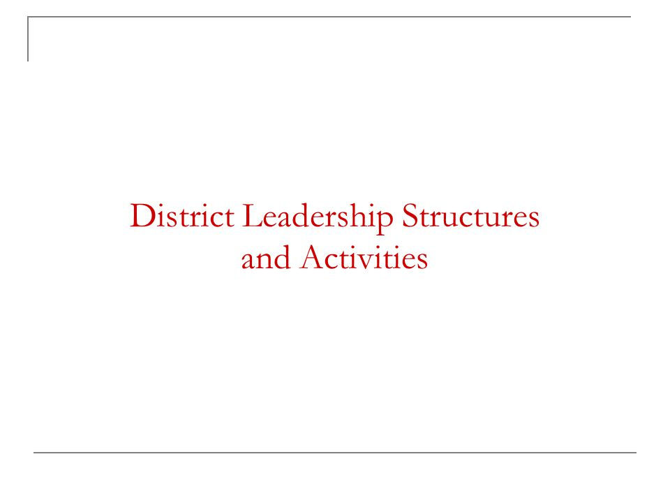 District Leadership Structures and Activities