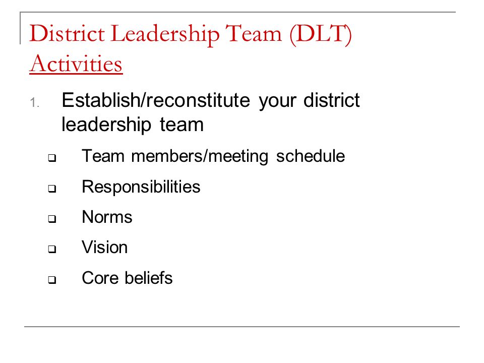 District Leadership Team (DLT) Activities 1.
