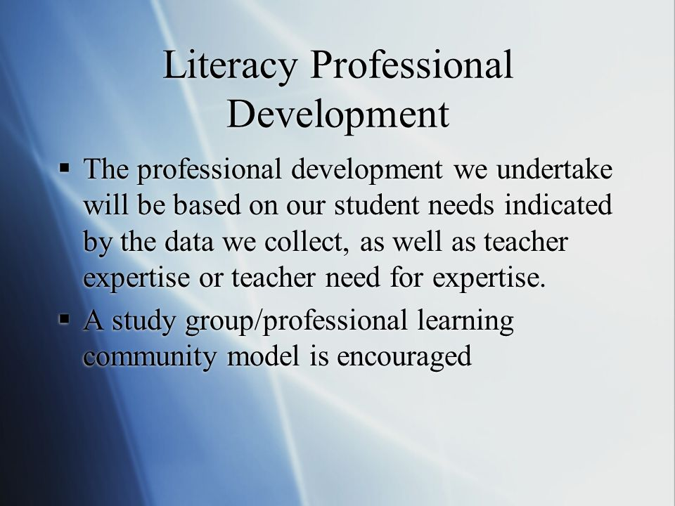 Literacy Professional Development  The professional development we undertake will be based on our student needs indicated by the data we collect, as well as teacher expertise or teacher need for expertise.