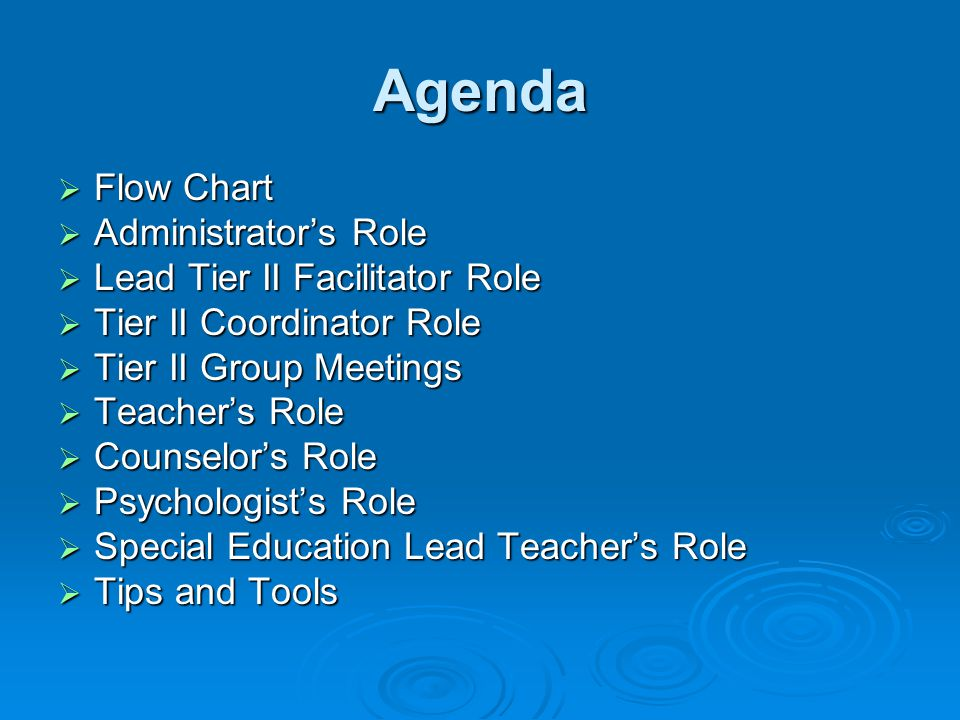 Agenda  Flow Chart  Administrator's Role  Lead Tier II Facilitator Role  Tier II Coordinator Role  Tier II Group Meetings  Teacher's Role  Counselor's Role  Psychologist's Role  Special Education Lead Teacher's Role  Tips and Tools