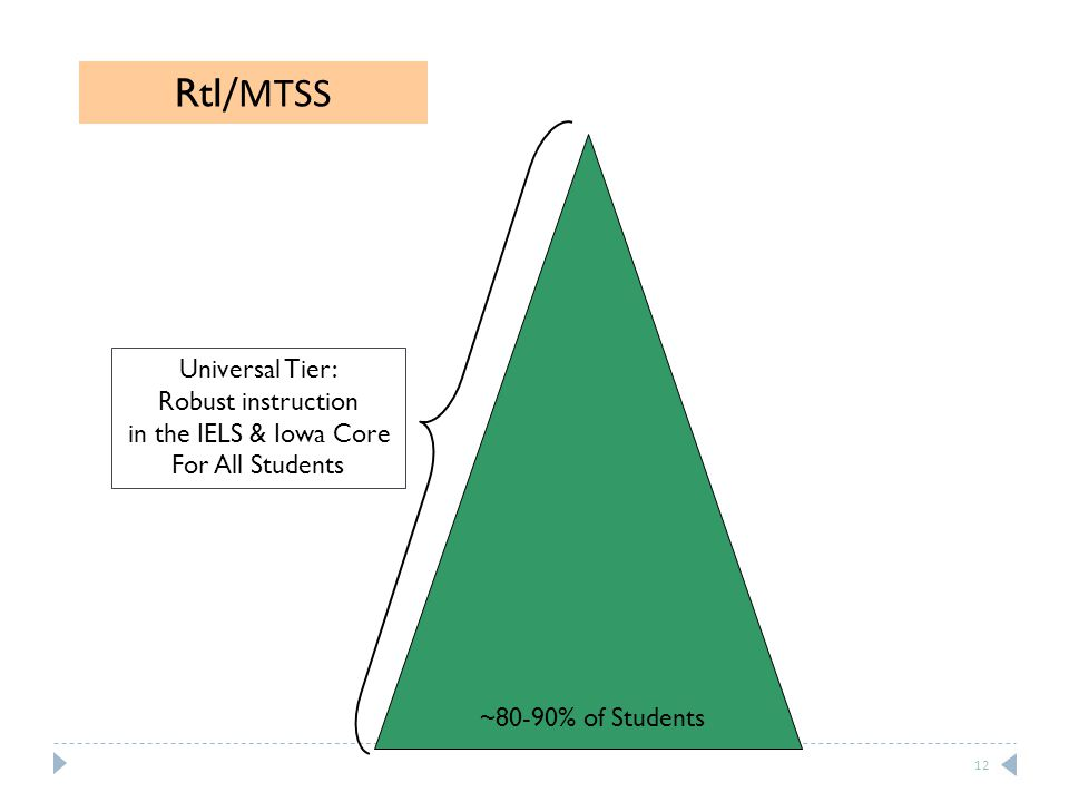 Universal Tier: Robust instruction in the IELS & Iowa Core For All Students ~80-90% of Students RtI /MTSS 12