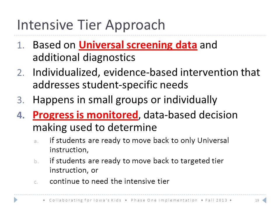 Intensive Tier Approach Based on Universal screening data and additional diagnostics 2.