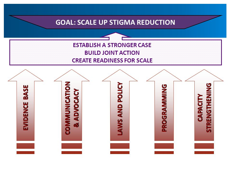 GOAL: SCALE UP STIGMA REDUCTION ESTABLISH A STRONGER CASE BUILD JOINT ACTION CREATE READINESS FOR SCALE CAPACITYSTRENGTHENING EVIDENCE BASE COMMUNICATION & ADVOCACY PROGRAMMING LAWS AND POLICY