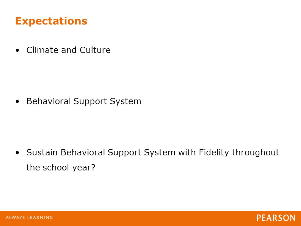Expectations Climate and Culture Behavioral Support System Sustain Behavioral Support System with Fidelity throughout the school year