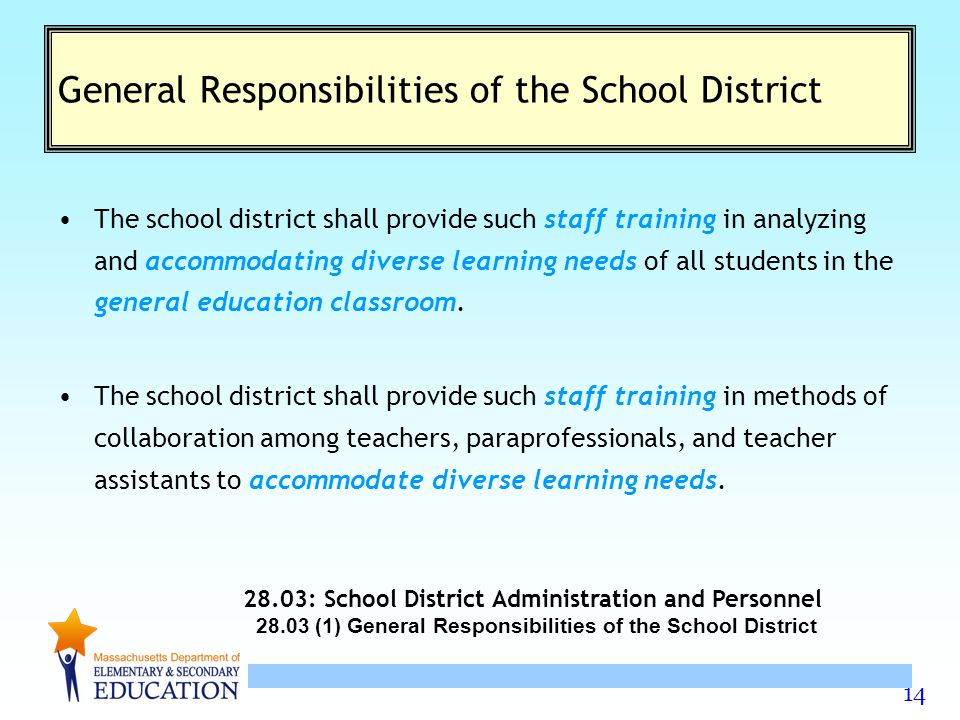 14 General Responsibilities of the School District The school district shall provide such staff training in analyzing and accommodating diverse learning needs of all students in the general education classroom.