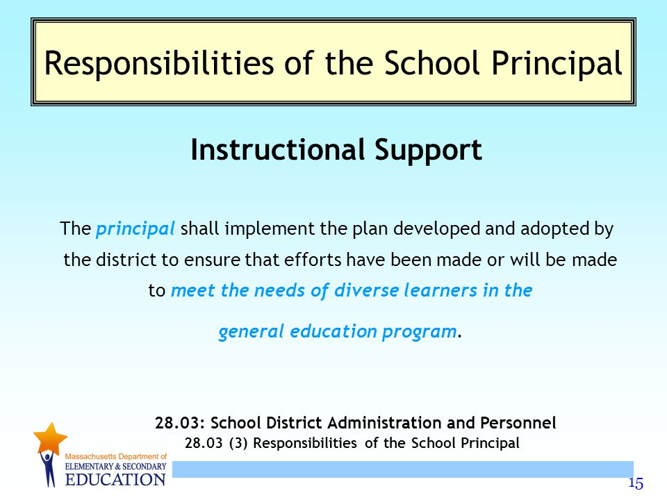 15 Responsibilities of the School Principal Instructional Support The principal shall implement the plan developed and adopted by the district to ensure that efforts have been made or will be made to meet the needs of diverse learners in the general education program.