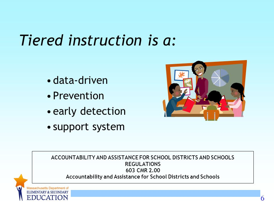 6 ACCOUNTABILITY AND ASSISTANCE FOR SCHOOL DISTRICTS AND SCHOOLS REGULATIONS 603 CMR 2.00 Accountability and Assistance for School Districts and Schools Tiered instruction is a: data-driven Prevention early detection support system