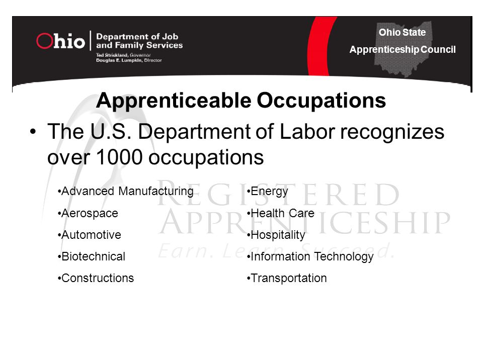 Ohio State Apprenticeship Council Apprenticeable Occupations The U.S.
