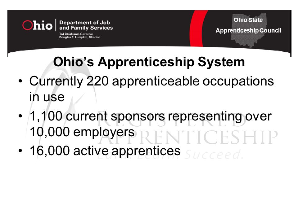 Ohio State Apprenticeship Council Ohio's Apprenticeship System Currently 220 apprenticeable occupations in use 1,100 current sponsors representing over 10,000 employers 16,000 active apprentices