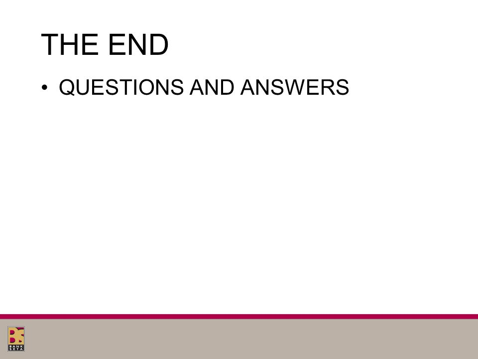 THE END QUESTIONS AND ANSWERS
