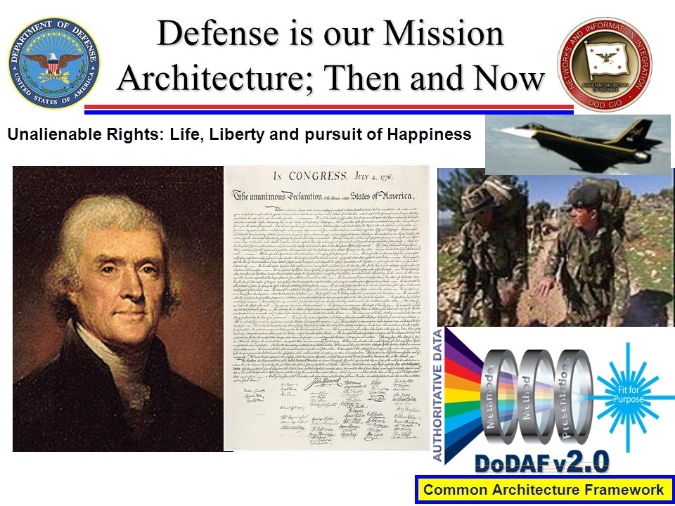 Defense is our Mission Architecture; Then and Now Common Architecture Framework Unalienable Rights: Life, Liberty and pursuit of Happiness