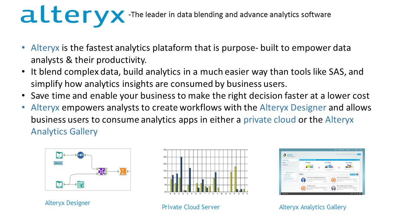 Alteryx is the fastest analytics plataform that is purpose- built to empower data analysts & their productivity.