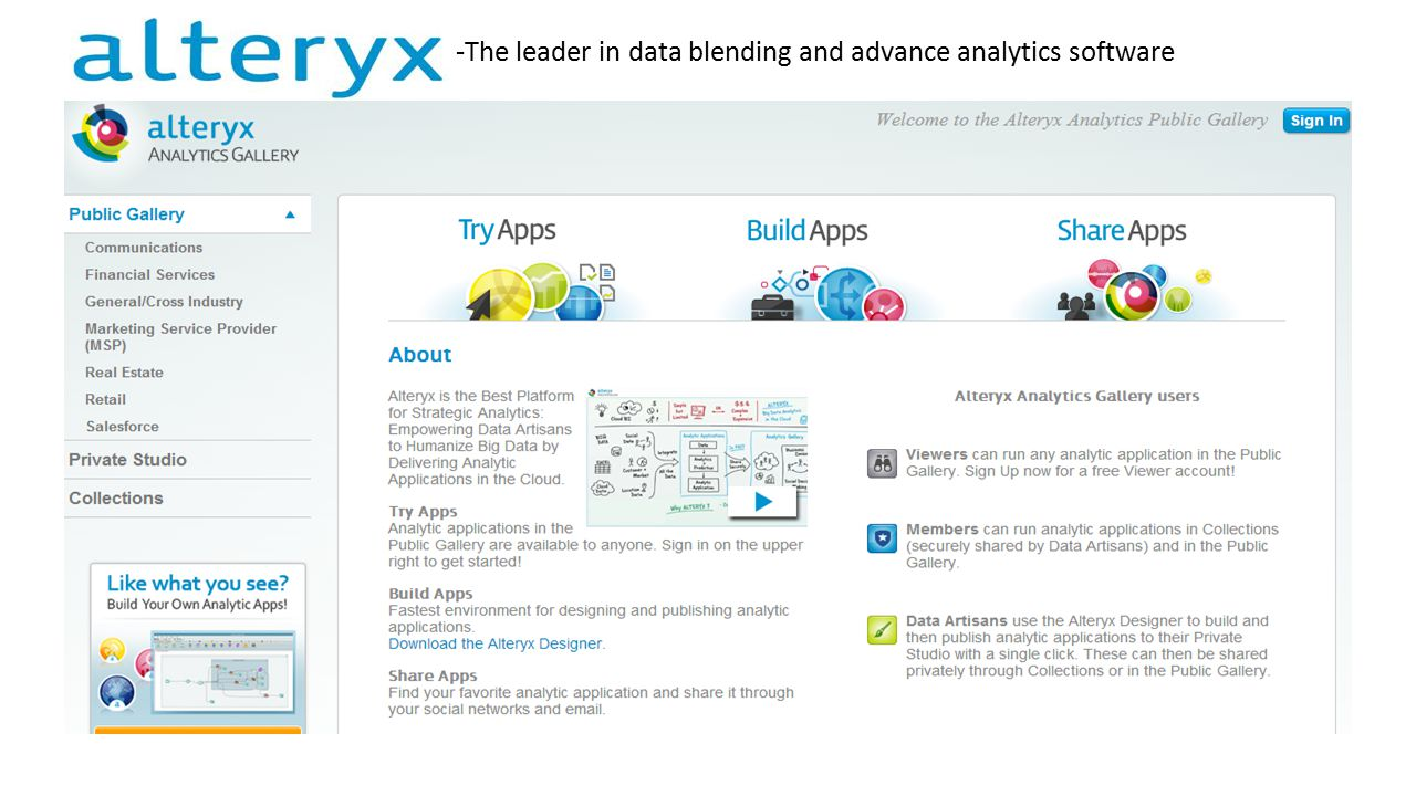 -The leader in data blending and advance analytics software