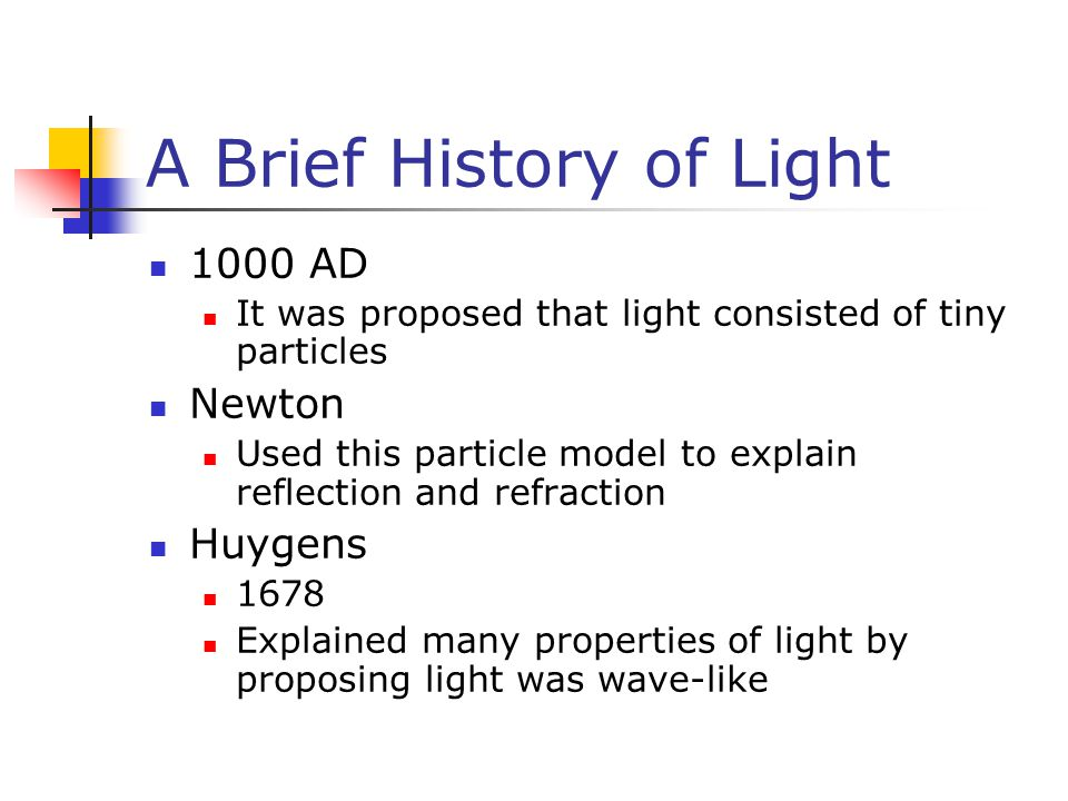 A Brief History of Light 1000 AD It was proposed that light consisted of tiny particles Newton Used this particle model to explain reflection and refraction Huygens 1678 Explained many properties of light by proposing light was wave-like
