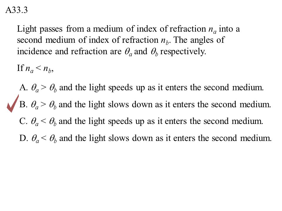 Light passes from a medium of index of refraction n a into a second medium of index of refraction n b.