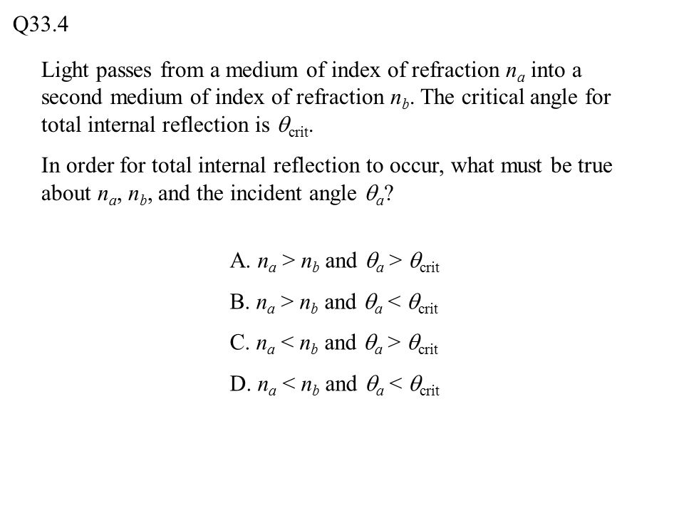Q33.4 Light passes from a medium of index of refraction n a into a second medium of index of refraction n b.
