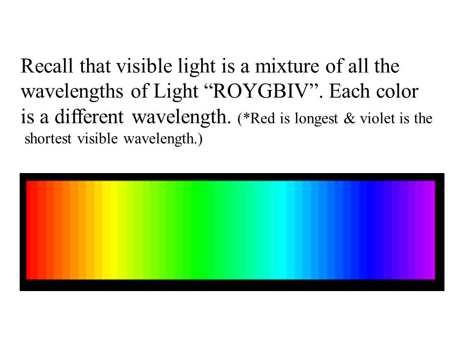 Recall that visible light is a mixture of all the wavelengths of Light ROYGBIV .