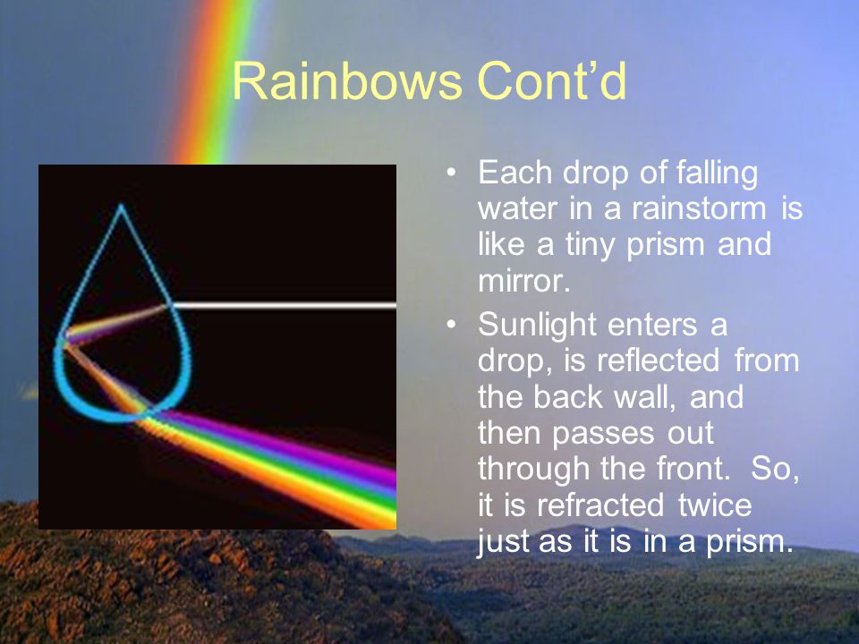 Rainbows Cont'd Each drop of falling water in a rainstorm is like a tiny prism and mirror.