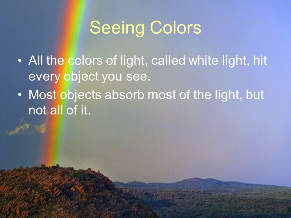 Seeing Colors All the colors of light, called white light, hit every object you see.