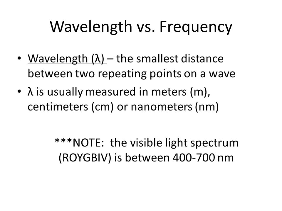 Wavelength vs.